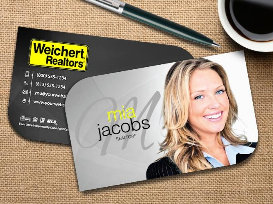 Die-Cut Weichert Realtors Business Cards |